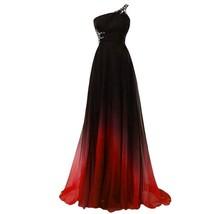 Lemai Beaded One Shoulder Gradient Chiffon Prom Evening Dresses Long Bla... - $106.99