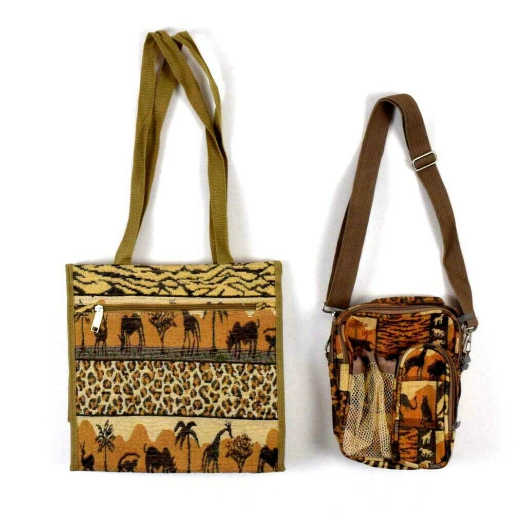 Primary image for Vintage 90s Safari Shoulder Bag Satchel Purse Coin Matching 2 Piece Animal Print