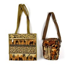 Vintage 90s Safari Shoulder Bag Satchel Purse Coin Matching 2 Piece Anim... - $24.74