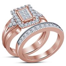 Engagement Bridal Ring Set Princess Cut Diamond Rose Gold Plated Pure 925 Silver - $74.81