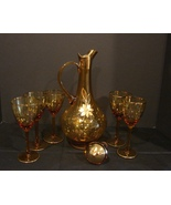 Vintage Bohemian Style Amber Gold Leaf Wine Liquour Decanter 5 Glasses n... - $45.99