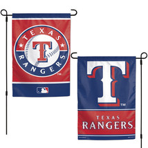 "TEXAS RANGERS TEAM GARDEN WALL FLAG BANNER 12"" X 18"" 2 SIDED MLB BASEBALL - $13.92"