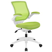 Modway Edge Mesh Back and Green Mesh Seat Office Chair With White Base A... - $141.55