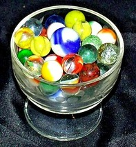 Marbles in a Custard Dish with 1 Shooter AA18 - 1174-C 50 Vintage