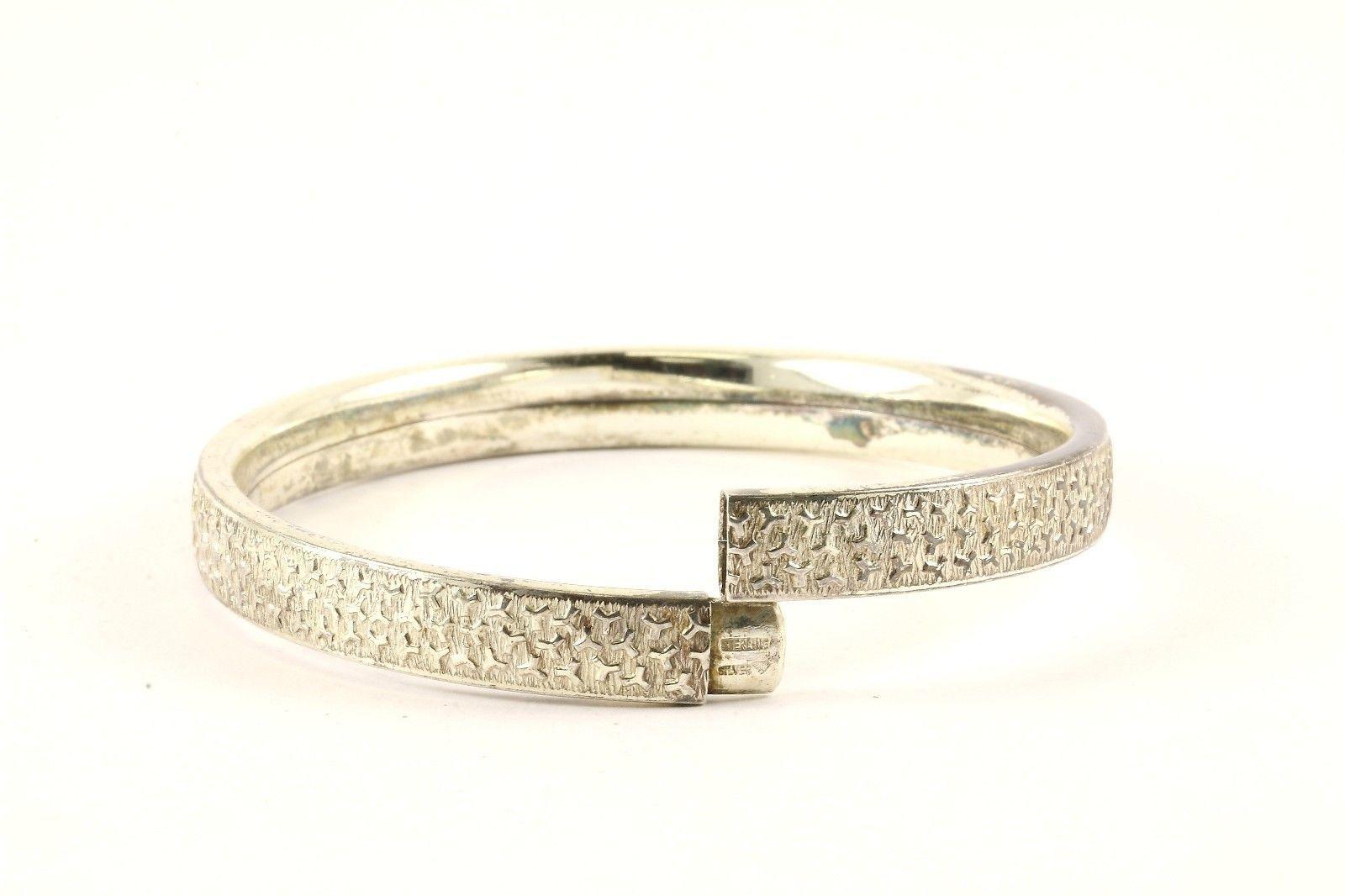 Vintage Textured Design Bangle Bracelet 925 Sterling BR 2851