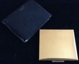 Vtg Nice Compact Goldtone Embossed Lines Mirror Puff Loose Powder Black ... - $24.69