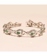 Natural Colombian Emerald Gemstone 925 Sterling Silver Tennis Bracelet J... - $56.06