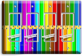 BRIGHT COLOR PENCILS PATTERN 4 GFCI LIGHT SWITCH PLATE ART HOBBY STODIO ... - $19.79