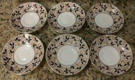 "6 Saucers Rosina- Bone China England 5.25"" gold trim-White- Dark Green L... - $29.69"