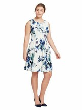Gilli Womens Dress 1X 16W White White And Blue Floral Print Fit & Flare ... - $14.43