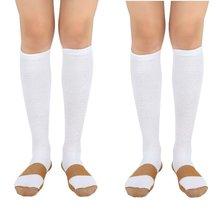 2 Pair Lg/XL White/Gold - Bcurb Graduated Compression Socks Below Knee C... - £10.73 GBP