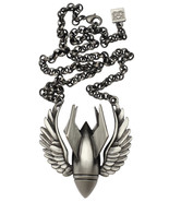 Winged Bombs Away Bomb Pendant Gun Metal Chain Necklace by Kitsch 'n' Ko... - $26.00