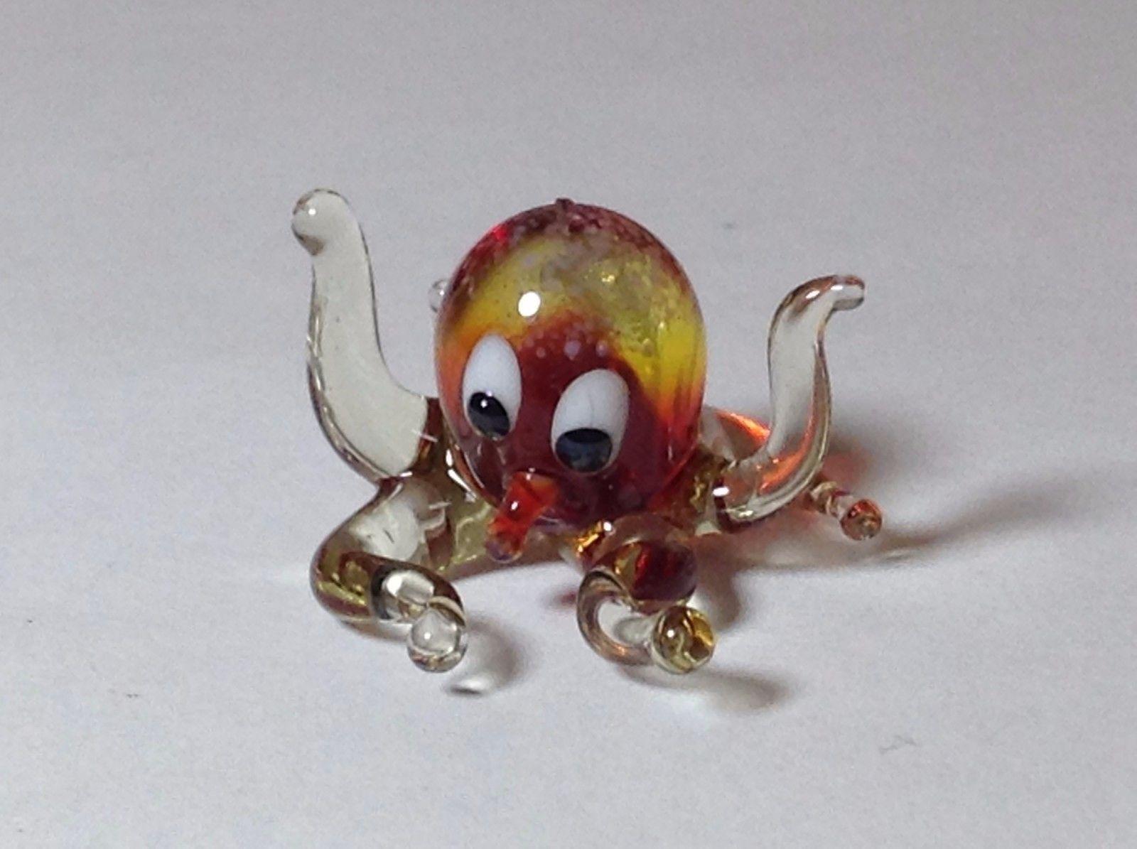 Miniature Glass amber octopus  Handmade Blown Glass Made USA