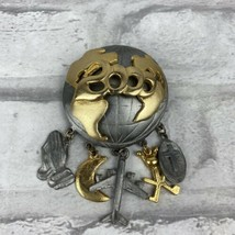 Ultra Craft Year 2000 Earth Map Brooch With Charms Airplane Cross Moon  - $28.95
