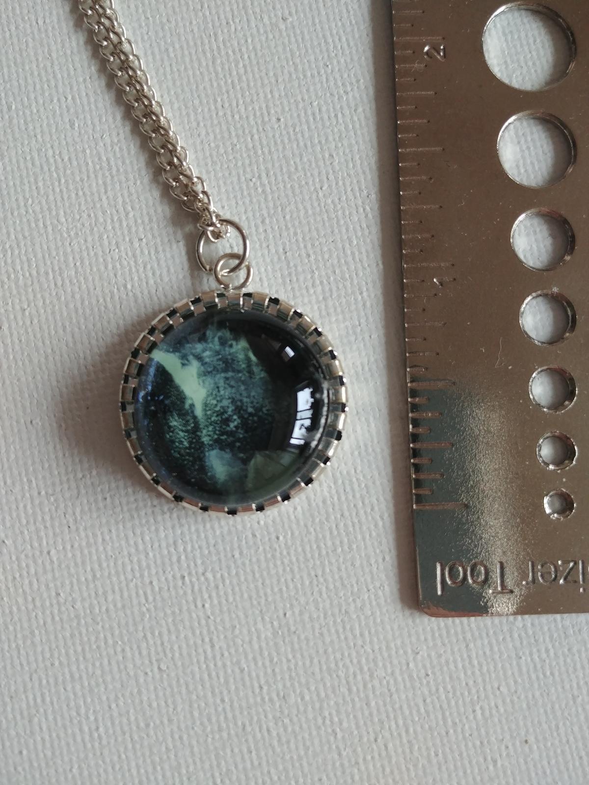 Handpainted Blue Grey Pendant