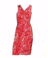 Chaps by Ralph Lauren Floral Coral Surplice Ruched Jersey Dress L XL  - $59.98