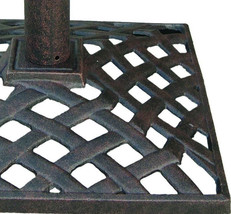 Umbrella Base Stand Cast Aluminum 50Lbs Nassau Weave Bronze image 2