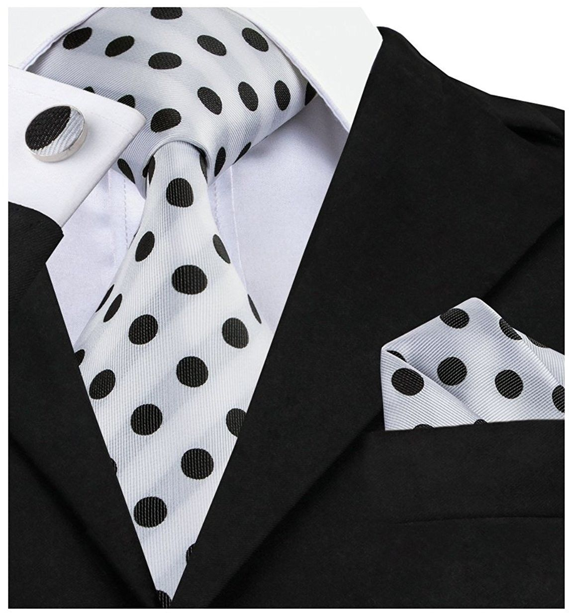 Primary image for Barry.Wang Retro Black And White Dots Necktie Set