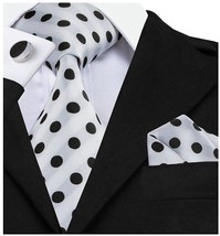 Barry.Wang Retro Black And White Dots Necktie Set - $33.64