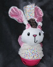 INFANTINO BABY BUNNY RABBIT CHIME BELL RATTLE HOT PINK FUCHSIA CRINKLE S... - $19.79