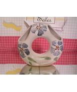 Stoneware ikebana vase open center ring-shaped handpainted - signed on b... - $8.55