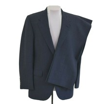 Vintage Barrister Mens 38R Suit Blue Wool Made Expressly for Wallachs Ma... - $65.44