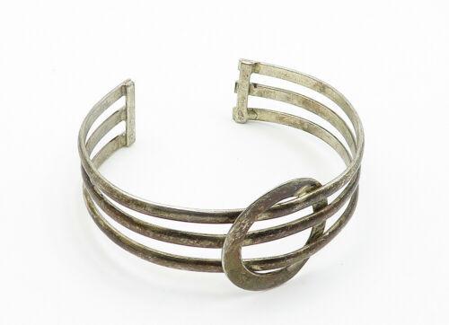 925 Sterling Silver - Vintage Dark Tone Circle Detail Cuff Bracelet - B6173 image 4
