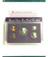 1993 proof set on sale certificate of authenticity. very nice coins 5 coins on s - $18.57