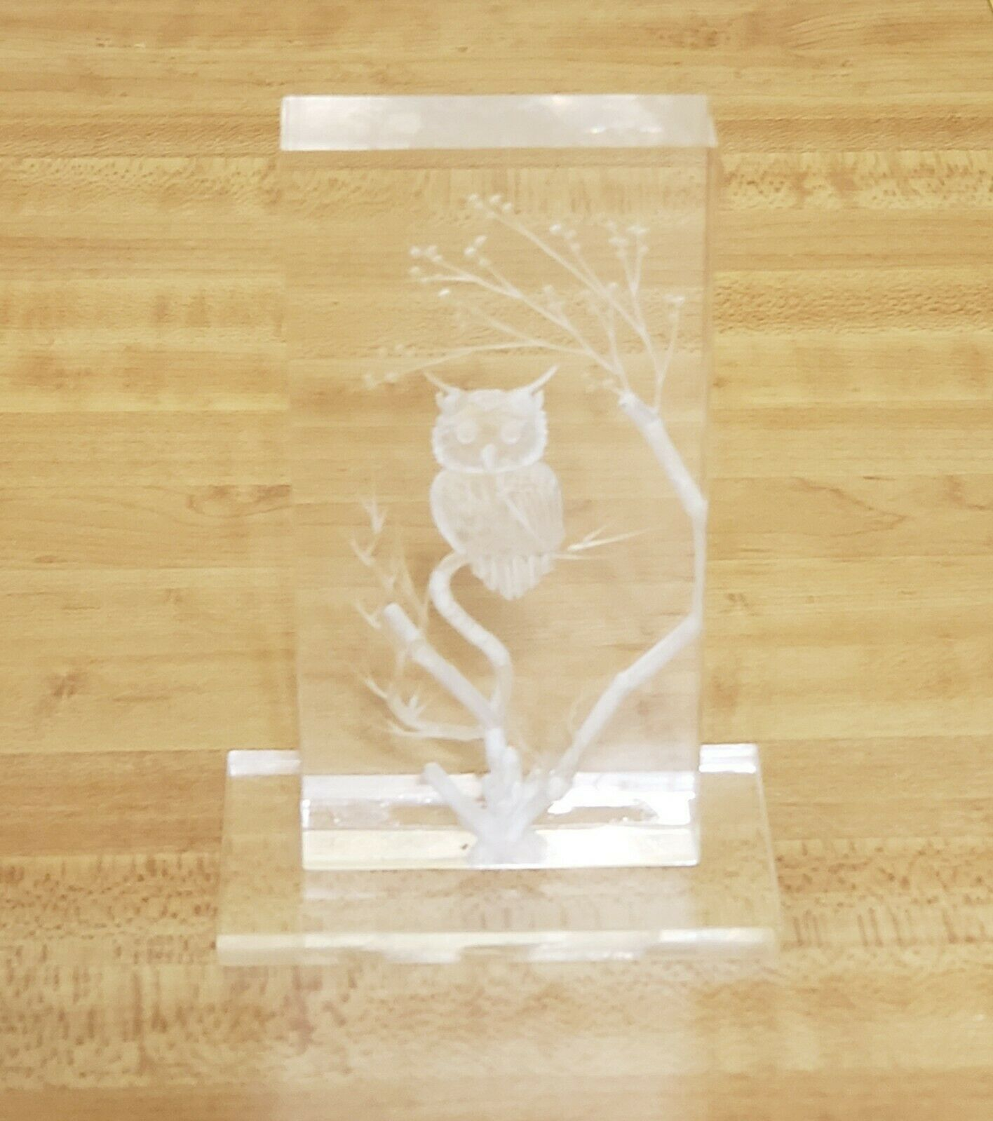 "Primary image for Owl On Branch Desk Art Engraved/Etched Clear Acrylic Small 4""×2"" On Base"