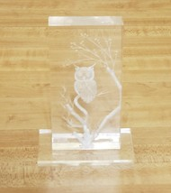 "Owl On Branch Desk Art Engraved/Etched Clear Acrylic Small 4""×2"" On Base - $14.22"