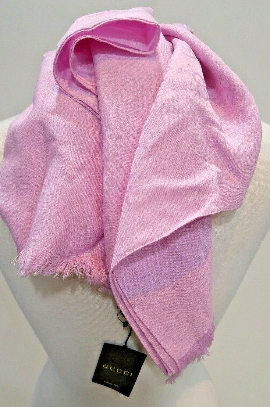 Primary image for Gucci women's GG Logo Guccissima Rose Pink Wool Silk Blend Scarf 165903