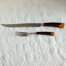 GLO-HILL Vintage Carving Knife & Dinner Fork 2 Pieces Faux Antler Plastic Handle - $14.95