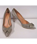 GIANVITO ROSSI Dust Suede Pointed Toe Pump with Leather Trim & Front Bow... - $299.99