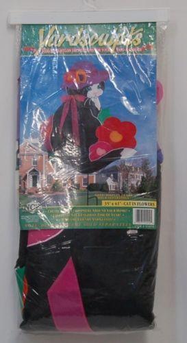 NCE Yardsculpts 21410 Colorful Nylon Cat in Flowers Yard Decoration NO FRAME