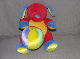 BABY GUND TUTTI FRUTTI RED PRIMARY COLOR STUFFED PLUSH DOG 58328 MUSICAL - $24.74