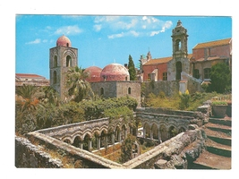Italy Sicily Palermo St John of Hermites Church Domes Garden Postcard 4X6 - $6.69