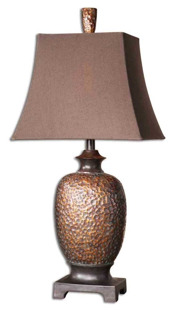 Hammered Copper Table Lamp Metallic 33H Craftsman Mission Bungalow Buffet New