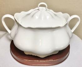 Vintage Heinrich H&Co Selb Bavaria White Porcelain Handled Lidded Sugar ... - $26.60