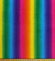 Micro Plush Rainbow Stripes Mink-Like Cuddle Feel Fabric by the Yard A351.08 - $13.97