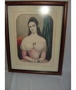 1800's Color Lithograph Kellogg & Comstock Bridget Framed Victorian NICE - $123.75