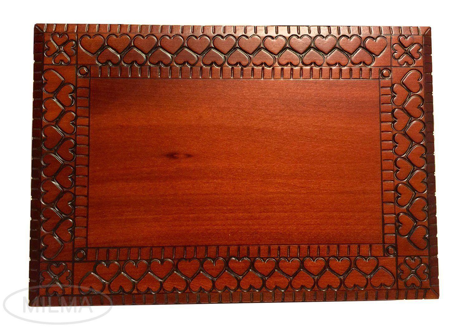 Large Handmade HEART Wooden Box Jewelry Box Keepsake Lock &  Key Made in Poland