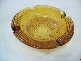 "Anchor Hocking Soreno Amber Glass Ashtray 6"" 1/4 Diameter - $9.89"
