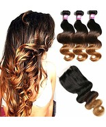 Hairitory Ombre Malaysian Body Wave Bundles with Lace Closure, 8A Virgin... - $120.48