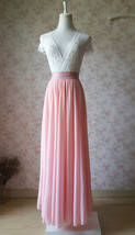 Blush Pink Chiffon Maxi Skirt Wedding Chiffon Skirt Floor Length Pink Skirt image 2