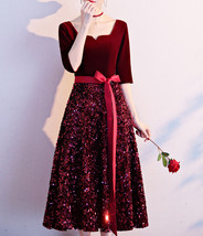 Burgundy Wine Red Half Sleeve Velvet Midi Dress High Waist Bridesmaid Midi Dress image 4