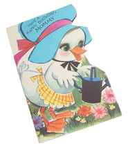 Vintage Happy Birthday To Mommy Greeting Card Die Cut Duck Garden Scene - $5.95