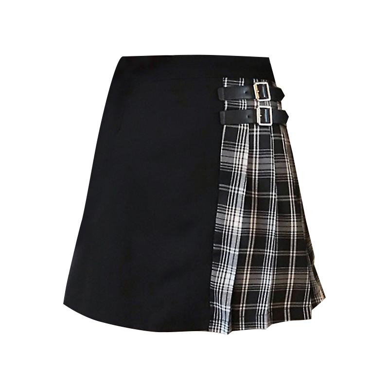 Black Navy Red Mini Plaid Skirt Women Street Style Pleated PLAID SKIRT Plus Size image 9