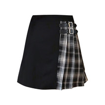 Black Navy Red Mini Plaid Skirt Women Street Style Pleated PLAID SKIRT Plus Size image 9