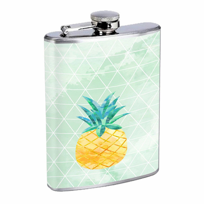 Pineapple Em2 Flask 8oz Stainless Steel Hip Drinking Whiskey