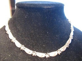 "Vintage Crown Trifari Floral Silver Tone Necklace 16"" - $85.00"